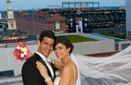A dramatic backdrop like Camden Yards makes for an excellent wedding day memory.