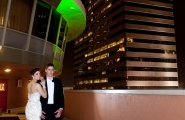 This Holiday Inn Baltimore-Inner Harbor bride and groom are on top of the world...well at least on top of the hotel for this wedding day photo memory.