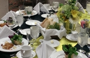 Consider a banquet wedding table once the courses begin being served.